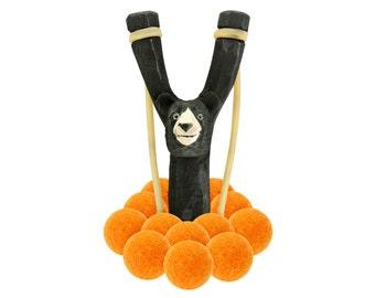 Wooden Bear Slingshot with 12 Light Orange Felt Ball Ammo - hunting slingshot, wooden slingshot, best slingshot, toy slingshot, wooden toy