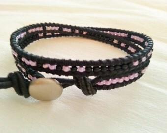 Double wrap bracelet, black leather, seed beads, black lilac mix