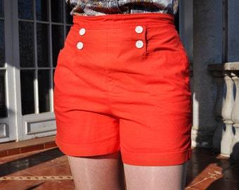 Vintage Bright Red 60s High Waist Buttoned Cuffed Cotton Shorts