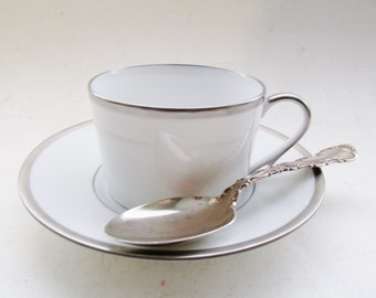 Raynaud Limoges Cup and Saucer, Fontainebleau Platinum, Coffee Cup