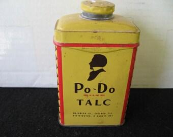 Vintage Po-Do Talc Powder Tin, Walgreen Co., Chicago