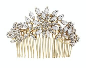 Eleanor Gold Crystal Bridal Hair Comb