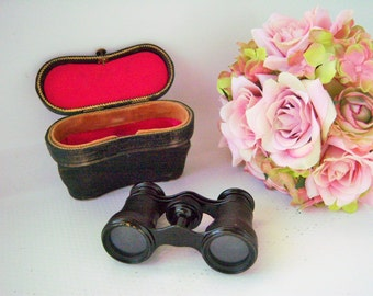 Vintage Opera Glasses Binoculars Lemaire Fabt Paris with Suede Leather Carry Case French Opera glasses
