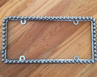 Bling License Plate Frame Gray/Silver Steel Glass Pearl Beaded #477156881