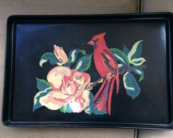 Vintage Black Metal Tray Paint By Number Cardinal and Flowers 1950's