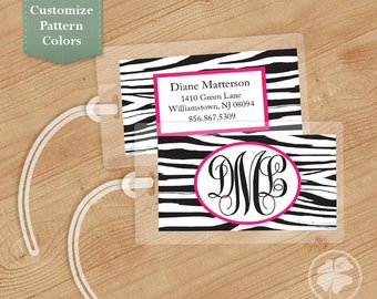 Zebra Print - Luggage Tag, Bag Tag, Backpack Tag, ID Tags, Personalized, Custom