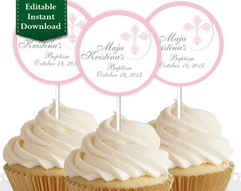 Religious - Communion/Christening Cupcake Topper, Custom Cupcake Toppers, Personalized Cupcake Topper