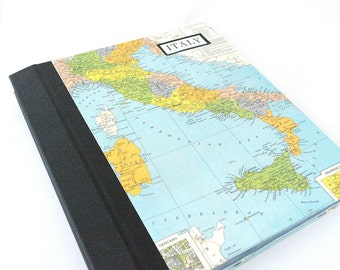 Large Customized Photo Album with Vintage Map of Italy  **150 Photographs**