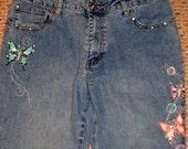 SALE,Vintage, Boho Jeans, Embellished Jeans, Applique Butterfly, Denim Jeans, Women Jeans, Boho, Festival,