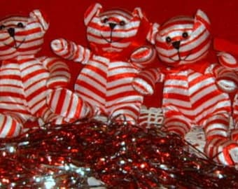 40% Off, Vintage,Teddy Bear, Christmas Decorations, Peppermint , Red and White Bears, Holiday Decor,
