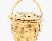 BIRKIN BASKET - Jane Birkin Basket with Lid - handmade wicker basket with lid  - MEDIUM