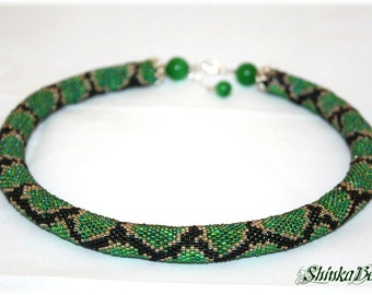 Green python snake skin bead crochet green, black seed bead necklace