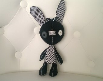 Black and White Bunny Stuffed Animal Goth Gift Ooak Plush Plushie Soft Softie Rabbit Hare Easter