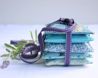 Mixed Teal Set of 5 - Lavender Sachets - Lavender Pillows Mother's Day Pamper