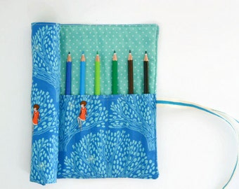 """Pencil Roll Wee Wander """"Tree Lights"""" - Option to Include Pencils - Crochet Hook Roll Brush Roll"""
