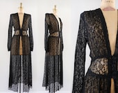 Vintage 1940s Rue Nuit Dress / 40s Hobart black lace dressing gown duster / Medium M