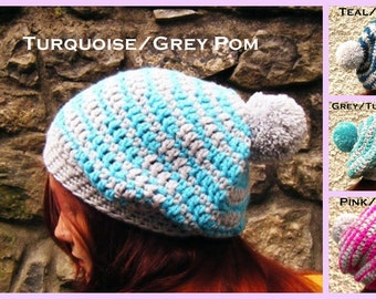 Adult slouch Hat Baggy Beanie Chunky Crochet Striped Bobble Hat - Pompom Hat