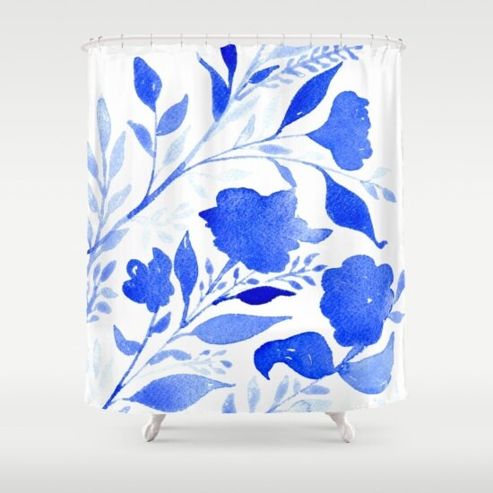 watercolor royal blue abstract shower curtain by elderbrookstudios