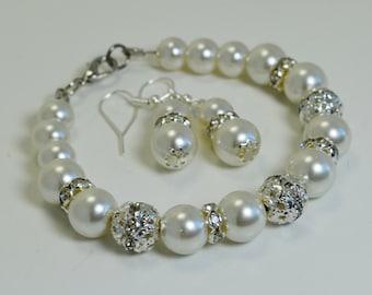 Ivory Pearl and Rhinestone Set, Ivory Pearl Bracelet, Bridal Jewelry, Bridesmaids Bracelet, Bracelet and Earrings set, Bridal Pearl Set