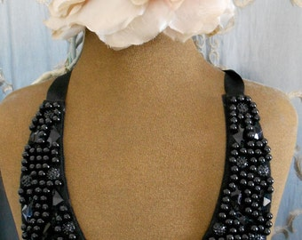 RESERVED for ANA Black Beaded Collar