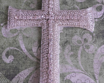 Rhinestone Beaded Cross Applique