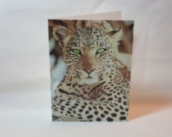 Beautiful Leopard with Green Eyes Blank Note Card with envelope 5 x 7