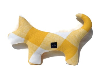 Squeaky Plush Dog Toy in Yellow Gingham Check
