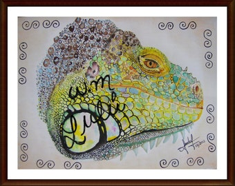 colorful, iguana, water color, painting, print