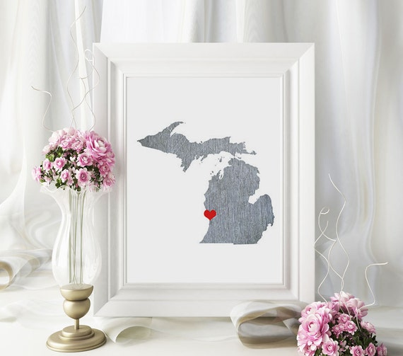 Michigan State Map - Custom Personalized Heart Print - I Love USA - Hometown Wall Art - Gift Souvenir - Detroit Grand Rapids