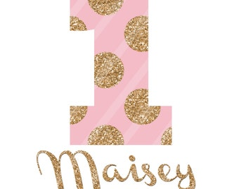 Birthday Girl Number Pink Gold Dots Digital Download for iron-ons, heat transfer, Scrapbooking, Cards, Tags, DIY, YOU PRINT