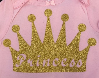 Baby Girl's Body Suit with Glitter Crown and Princess on it