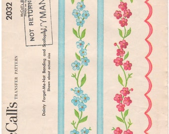1955 - McCalls 2032 Vintage Transfer Pattern Dainty Forget Me Not Banding Scalloping Embroidery Linens Household Sheets Towels Clothing