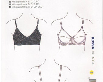 Kwik Sew 3594 2000s Sewing Pattern Bra Sizes 32/34/36/38/40 Undergarments