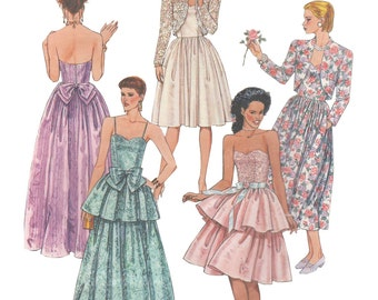 McCalls 4692 Vintage 1990s Sewing Pattern Sizes 6/8/10 Lined Bolero Jacket Dress Gown Funnel Neck Strapless Fitted Bodice Peplum Bow