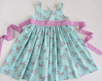 Handmade Boutique Carousel Twirl Dress sizes 12 months, 18 mos, 2, 3, 4, 5, 6, 7, 8 Ponies Horses