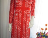 1970's Ladies Long Sleeve High Neck Red/White Print FITTED DRESS by Butte Knit.