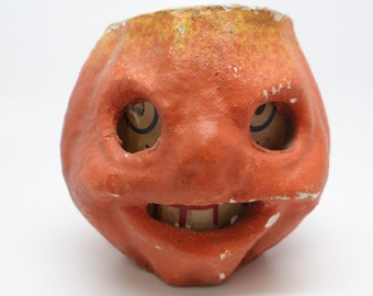 Vintage 1940's Halloween 4 1/2 Inch Jack-O-Lantern with Scary Face, made with Pulp Paper Mache
