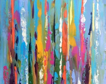 Abstract Landscape 'Little Swishes' - acrylic painting on canvas - size 20cm x 20cm