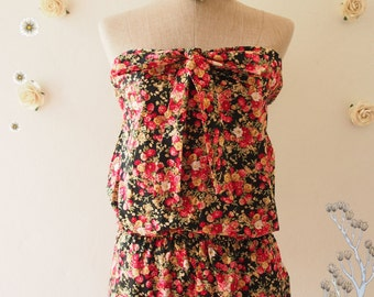 2015 CLEARANCE SALE - Summer Strapless Jumper Red Floral Jumper BodySuit  Beach Vintage Style - Size XS
