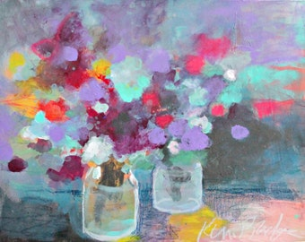 """Small Abstract Floral, Modern Wall Art, Original Acrylic Painting, """"Flowers from My Garden"""" 8x10"""