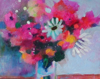 "Small Abstract Painting, Floral Still Life, Colorful Original Artwork, 8x8"" Little Bouquet"