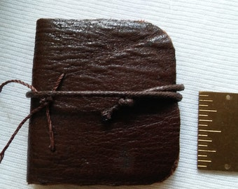 """Distressed Leather Note Book, 2""""x 2"""", Hand Bound, Blank Natural Pages, Strap Closure, Great Gift,"""