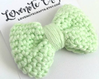 Crochet Hair Bow: Pistachio Mint - Crochet Hair Clip - Crochet Bowtie - Infant - Photography Props - Toddler