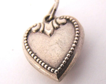 Vintage Sterling Puffy Heart Charm Engraved