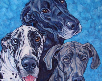 """20"""" x 20"""" Custom Pet Portrait Painting in Acrylic on Canvas of Three Dogs, Cats, or Other Animals OOAK Ready to Hang Art from your Pet Photo"""