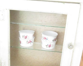 Vintage Chippy white with glass shelves shabby chic cupboard  shabby chic cottage chic