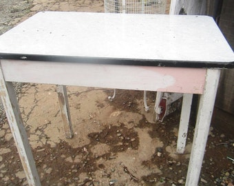 Reserved layaway  vintage farm table enamel   metal top with drawer chippy painted shabby chic prairie cottage chic
