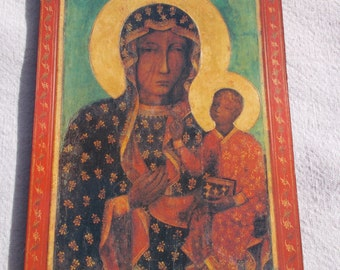 Two Religious Icons Mary and Jesus  Wood Plaque and Composite wall hanging Spiritual
