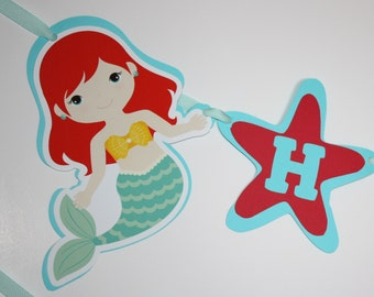 Little Mermaid Banner, Happy Birthday Party Banner, Mermaids, READY TO SHIP, Under the Sea Mermaids & Starfish Birthday Party Decoration