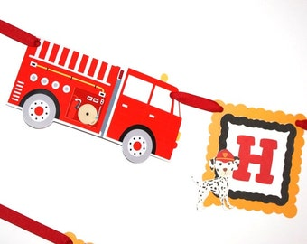 Fire Truck Birthday Banner Firetruck Banner Firetruck Party Custom Name, Fire Engine Dalmatians Birthday Banner, Fire Truck Party Decoration